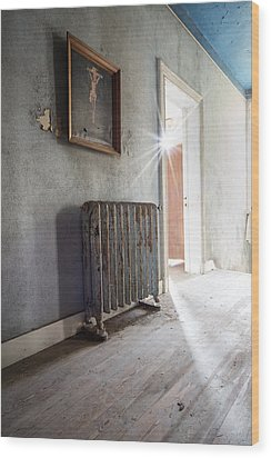 Jesus Above The Heater - Abandoned Building Wood Print