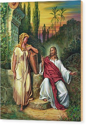 Jesus And The Woman At The Well Wood Print by John Lautermilch