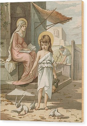 Jesus As A Boy Playing With Doves Wood Print by John Lawson