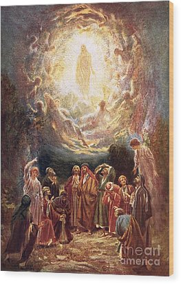 Jesus Ascending Into Heaven Wood Print by William Brassey Hole