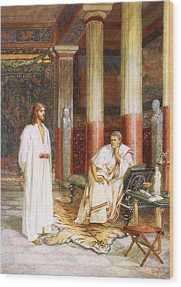 Jesus Being Interviewed Privately Wood Print by William Brassey Hole