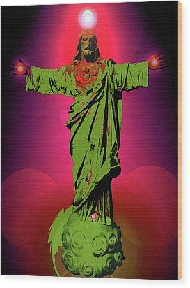 Jesus Bless No. 03 Wood Print by Ramon Labusch