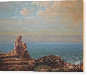 Jesus By The Sea Wood Print by Michael Nowak