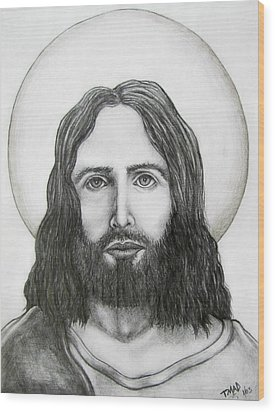 Wood Print featuring the drawing Jesus Christ by Michael  TMAD Finney
