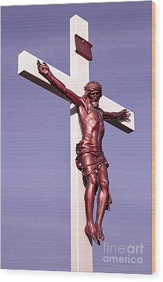 Wood Print featuring the photograph Jesus Crucifix Against The Sky 2 by Gary Whitton