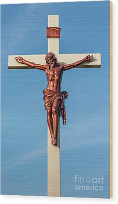 Wood Print featuring the photograph Jesus Crucifix Against The Sky 3 by Gary Whitton