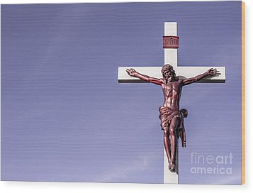 Wood Print featuring the photograph Jesus Crucifix Against The Sky by Gary Whitton