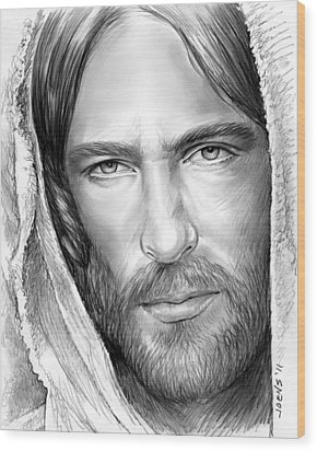Jesus Face Wood Print