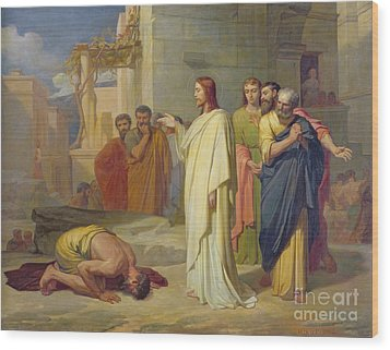 Jesus Healing The Leper Wood Print by Jean Marie Melchior Doze