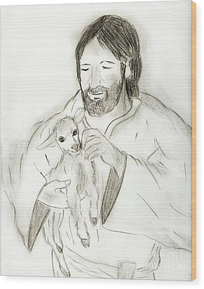 Jesus Holding Lamb Wood Print by Sonya Chalmers