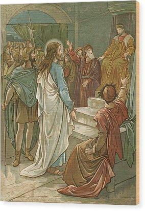 Jesus In Front Of Pilate Wood Print by John Lawson