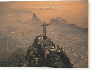 Jesus In Rio Wood Print by Christian Heeb