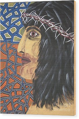 Wood Print featuring the painting Jesus by Jeffrey Koss