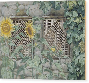 Jesus Looking Through A Lattice With Sunflowers Wood Print by Tissot