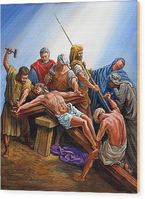 Jesus Nailed To The Cross Wood Print by John Lautermilch