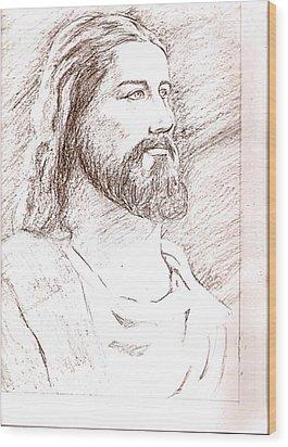 Jesus Wood Print by Nevis Jayakumar