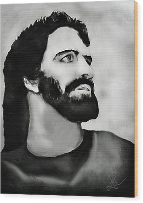 Wood Print featuring the digital art Jesus by Pennie  McCracken