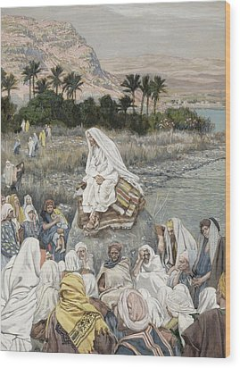 Jesus Preaching By The Seashore Wood Print by Tissot