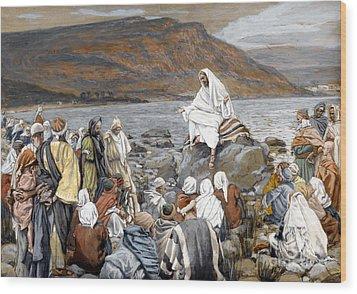Jesus Preaching Wood Print by Tissot