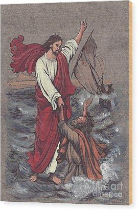 Jesus Saves Peter Wood Print by Morgan Fitzsimons