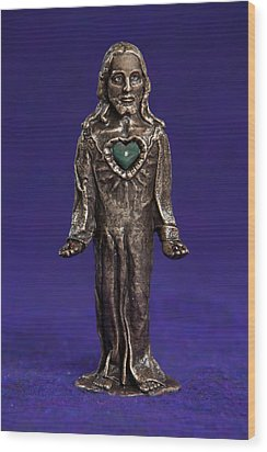 Jesus Statue With Sacred Heart Wood Print by Jasmina Agrillo Scherr