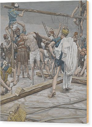 Jesus Stripped Of His Clothing Wood Print by Tissot