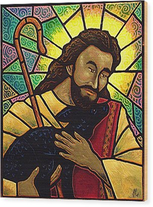 Wood Print featuring the painting Jesus The Good Shepherd by Jim Harris