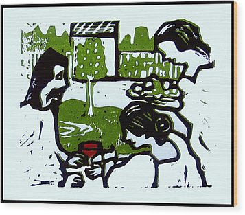 Jesus With Mary And Martha I Wood Print by Adam Kissel
