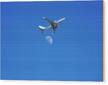 Jet Plane Flying Over The Moon Wood Print