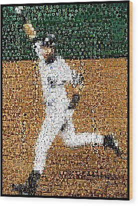 Jeter Walk-off Mosaic Wood Print by Paul Van Scott