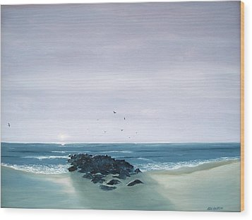 Wood Print featuring the painting Jetty At Dawn by Ken Ahlering