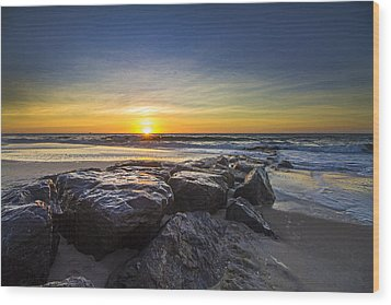 Jetty Four Sunrise Wood Print