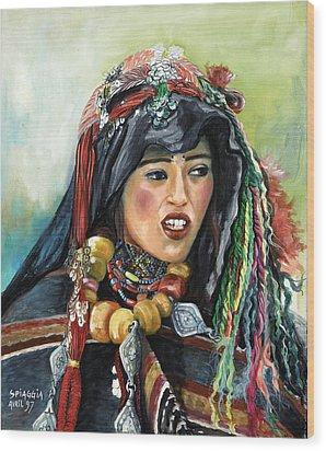 Jeune Femme Berbere De Atlas Marocain Wood Print by Josette SPIAGGIA