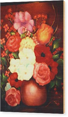 Jewel Flowers Wood Print by Jordana Sands