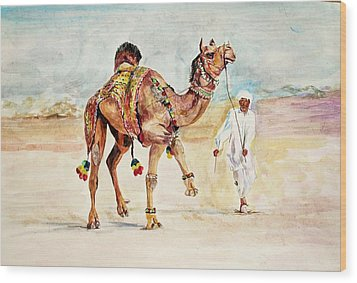Jewellery And Trappings On Camel. Wood Print by Khalid Saeed