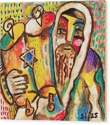 Jewish Celebrations Rejoicing In The Torah Wood Print by Sandra Silberzweig
