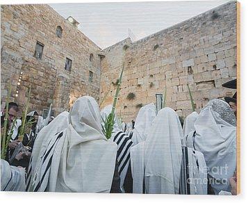 Jewish Sunrise Prayers At The Western Wall, Israel 10 Wood Print