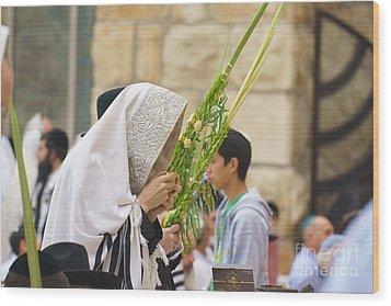 Jewish Sunrise Prayers At The Western Wall, Israel 6 Wood Print