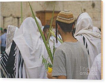 Jewish Sunrise Prayers At The Western Wall, Israel 8 Wood Print