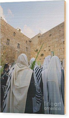 Jewish Sunrise Prayers At The Western Wall, Israel 9 Wood Print