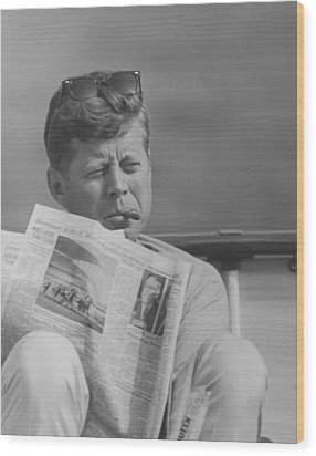 Jfk Relaxing Outside Wood Print by War Is Hell Store