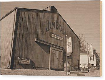 Jim Beam Distillery Sepia Wood Print