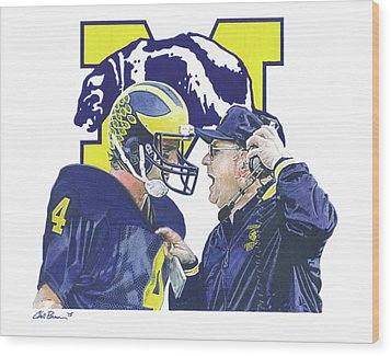 Jim Harbaugh And Bo Schembechler Wood Print