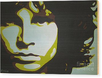 Wood Print featuring the painting Jim Morrison by Ashley Price