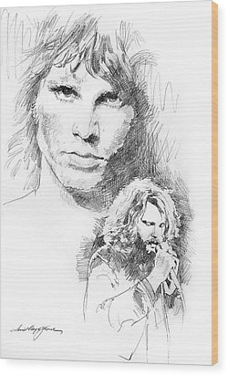 Jim Morrison Faces Wood Print by David Lloyd Glover