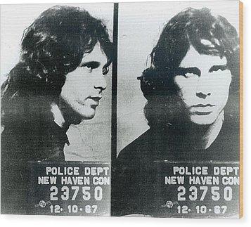 Jim Morrison Mug Shot Horizontal Wood Print by Tony Rubino