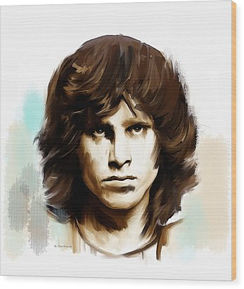 Wood Print featuring the painting Jim Morrison Stolen Dust by Iconic Images Art Gallery David Pucciarelli