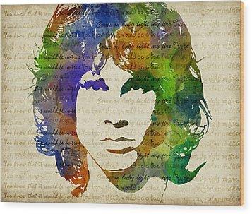 Jim Morrison Watercolor Wood Print