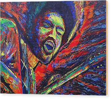 Jimi And The Blue Flames Wood Print by Jeremy Smith