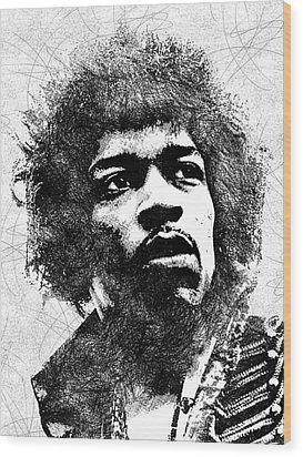 Jimi Hendrix Bw Portrait Wood Print